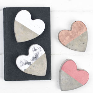 Colour Block Concrete Heart Decorations