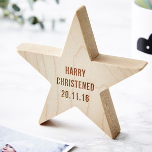 Personalised Christening Wooden Star Keepsake - keepsakes