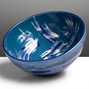 Handmade Blue Ceramic Bowl - tableware