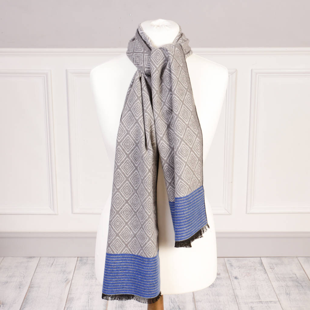 Geometric Gentlemen's Luxury Scarf With Free Gift Bag