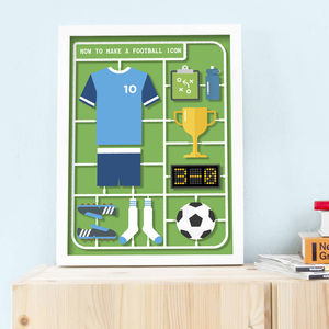 Personalised Airfix Football Print - nursery pictures & prints