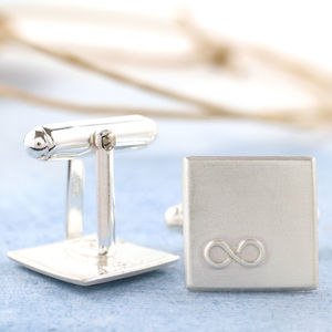 Personalised Silver Infinity Wedding Cufflinks - 25th anniversary: silver