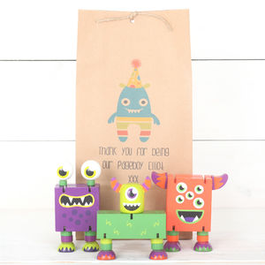 Three Wooden Monsters And Personalised Gift Bag