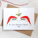 Personalised Christmas Couple Card With Santa Hats