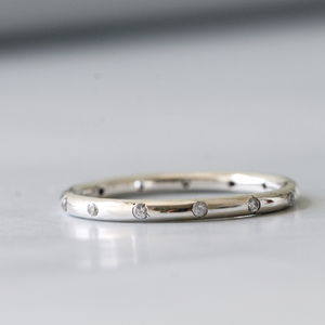 Silver Dotted Zirconia Stacking Ring - summer sale