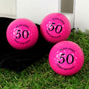 A Set Of Three Pink Birthday Personalised Golf Balls