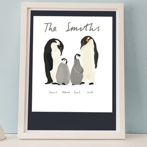 Personalised Penguin Family Print