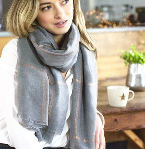 Personalised Grey To Gold Checked Scarf - gifts for teachers