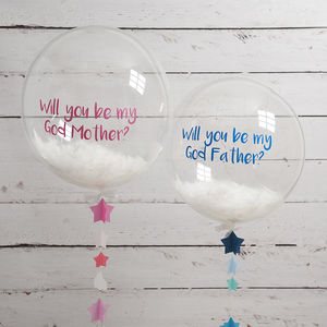 Personalised Godmother Feather Filled Balloon - gifts for godparents
