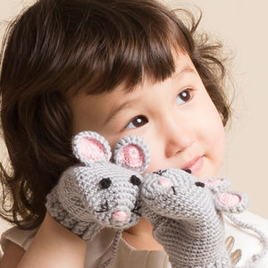 Hand Crochet Mouse Mittens - refresh their wardrobe