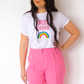 Bride Squad Rainbow T Shirt