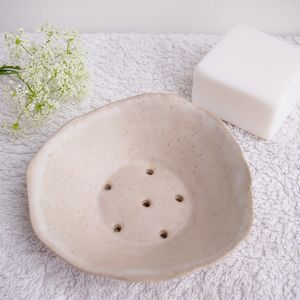 Handmade White Ceramic Stoneware Soap Dish - soap dishes & dispensers