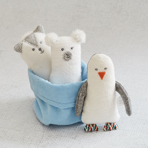 Set Of Three Winter Animal Soft Baby Rattles