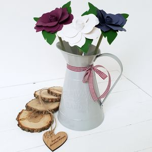 Leather 3rd Anniversary Flowers In Grey Decor Jug - artificial flowers
