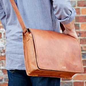 Personalised Large Brown Leather Messenger Bag