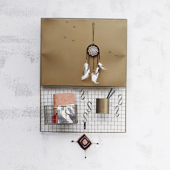 Gold Metal Memo Notice Board With Accessories