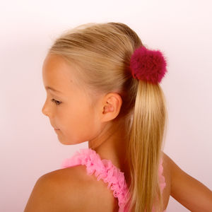Marabou Pompom Ponytail Bobble - christmas party wear for children