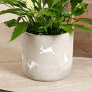 Set Of Two White Rabbit Concrete Flower Pots