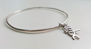 Personalised Silver Wire Name Charm Bangle - bracelets & bangles