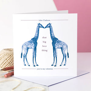 Personalised Valentine Card; Kissing Giraffes