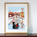 Art Print Of Venice Retro Travel Poster Style