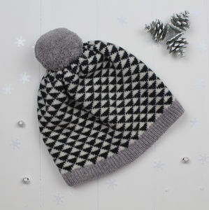Triangle Knitted Pom Pom Hat - women's accessories