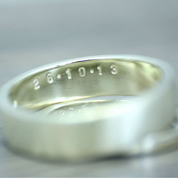 9ct White Gold Personalised Wedding Ring, 5mm Wide