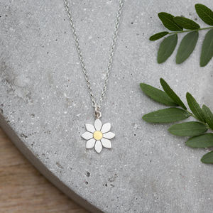 Dahlia Flower Pendant In Solid Silver And 18ct Gold