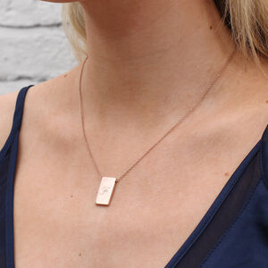18ct Gold Or Sterling Silver Initial Tablet Necklace
