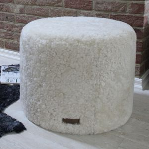 Cream Curly Sheepskin Round Pouffe - footstools & pouffes