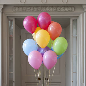Pack Of 14 Pastel Rainbow Party Balloons - outdoor decorations