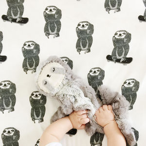 Skating Sloth Fitted Cotbed Sheet - whatsnew