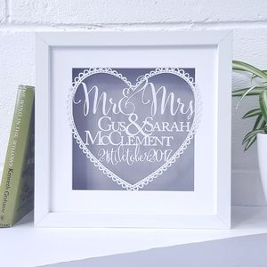 Personalised Wedding Gift Papercut - dates & special occasions