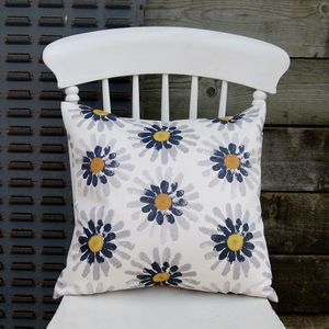 Small Square Mustard Daisy Cushion - cushions