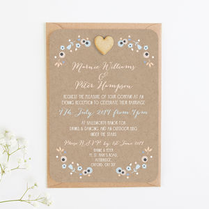 Floral Kraft, Peach And Blue Evening Invite