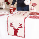 Cranberry Stag Personalised Christmas Table Linen