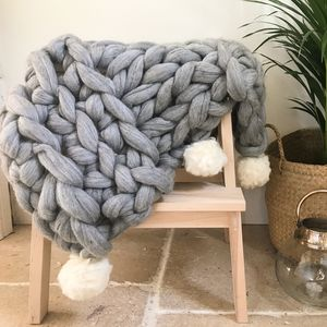 Bibury Pom Pom Chunky Knit Merino Wool Blanket - throws, blankets & fabric