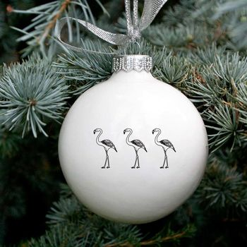 Funny Christmas Bauble With Flamingos