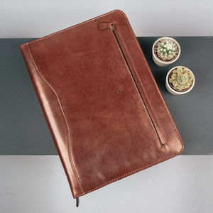 Luxury A4 Leather Ring Binder Folder. 'The Veroli'