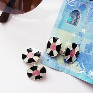 Black, White And Pink Enamel And Silver Cufflinks - cufflinks