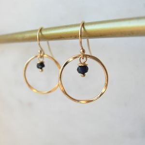 Sapphire And Rolled Gold Earrings