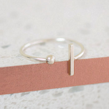 Sterling Silver Bead Bar Wrap Ring