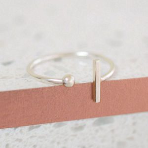 Sterling Silver Bead Bar Wrap Ring - rings