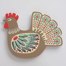 Close up of Brown Hen Design Plywood Wall Art