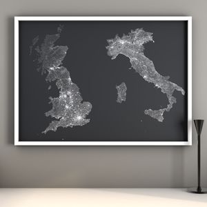 Personalised Double Countries Map Print - canvas prints & art
