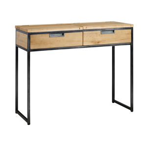 Industrial Oak And Steel Desk - furniture