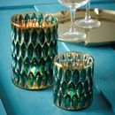 Set Of Peacock Tea Light Holders