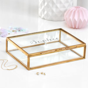 Personalised Rectangular Glass Keepsake Box - jewellery storage & trinket boxes