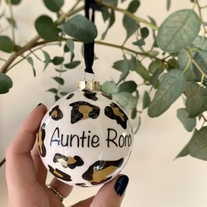 Personalised Leopard Print Bauble