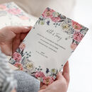 Peony Wedding Invitation In White Acrylic